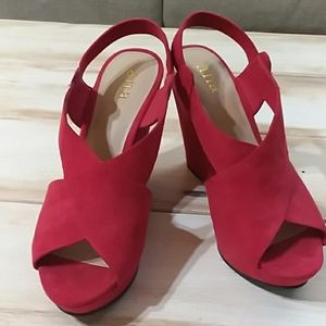 A.n.a platforms red velour suede look and feel